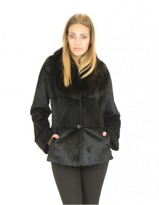 Jacket in black lapin with bands with fox neck 46 lapin кроличий мех Lapine