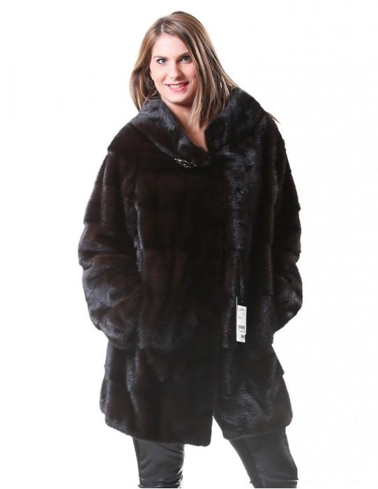fur mink coat woman braschi natural mahogany