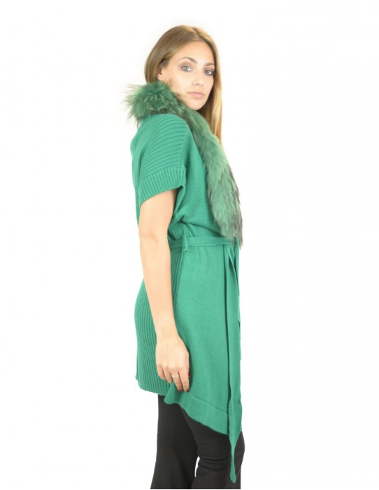 Vest in green woolen yarn with fox collar with button 46 montone баранина Hammel mouton