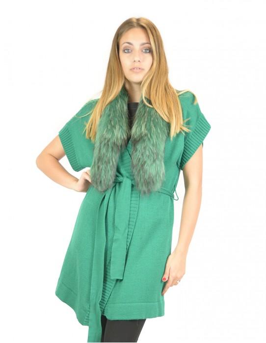 Gilet in lana filato verde con collo in volpe con bottone 46 баранина sheepskin Hammel mouton