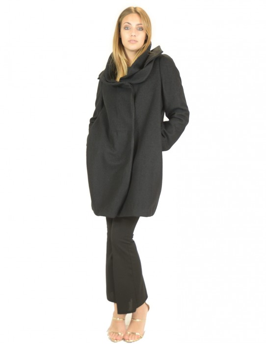 Pignatelli black coat with collar double collar 46 piumino Daunenjacke doudoune