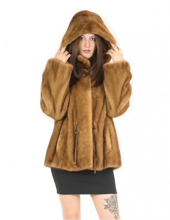 Mink coat wild whole hood and drawstring 48 fourrure de vison pelliccia visone Nerz