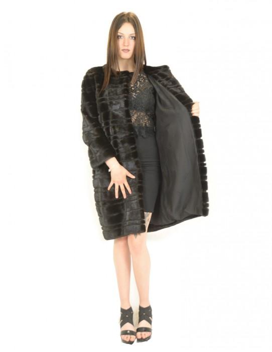 Braschi scanblack horizontal mink coat 48 fourrure de vison pelliccia visone Nerz