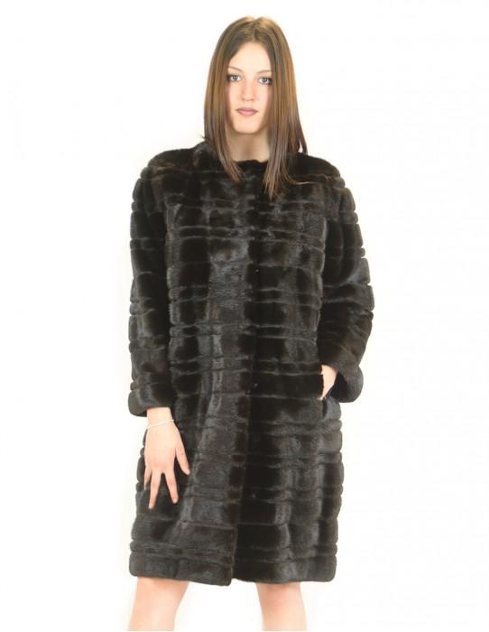 Cappotto visone orizzontale braschi scanblack 48 fourrure de vison mink fur Nerz