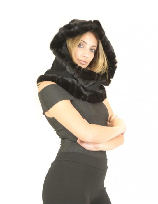 Velvet hood and mink scanblack braschi Collo pelliccia Pelzkragen col fourrure