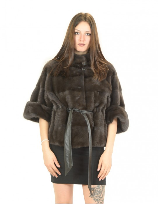 Dyed aurora horizontal mink coat with belt 48 fourrure de vison pelliccia visone Nerz