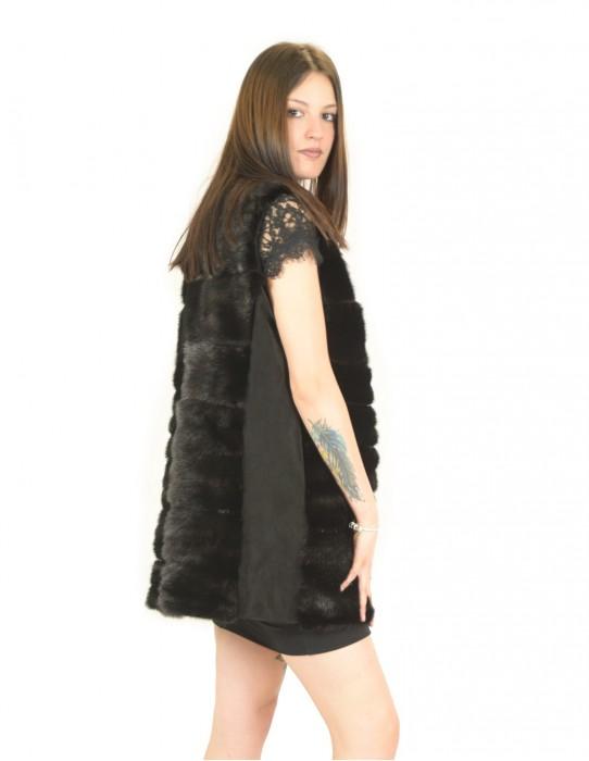 Smanicato pelliccia visone orizzontale nero con renna 52 fourrure de vison mink fur Nerz