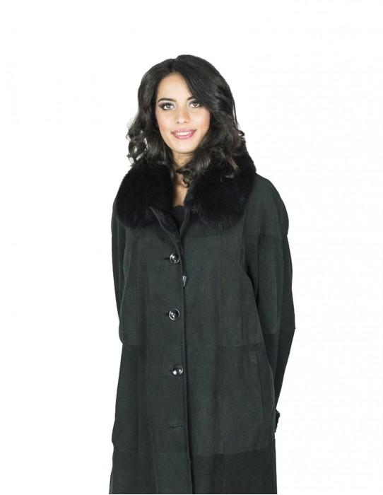 black rabbit fur coat with fox collar 54 fourrure 毛皮 pelliccia mex pelz