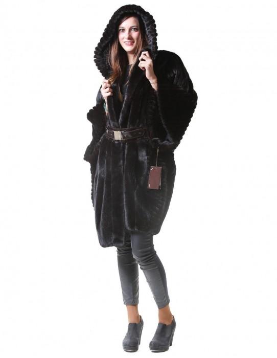 Fur cape Braschi mink black nafa 44 hood visone pelicciaNerz норка fourrure