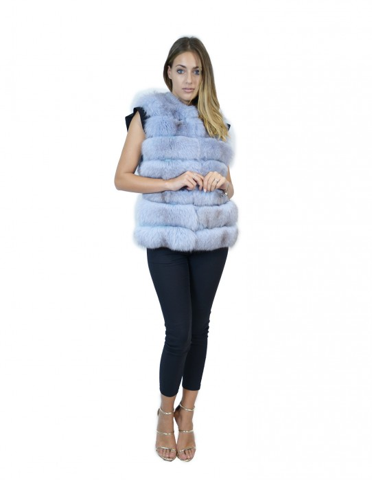 Short sleeveless blue fox with leather inserts 46 smanicato volpe ärmelloser Fuchs renard sans manches