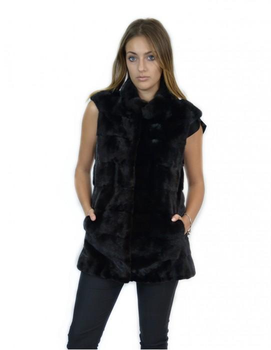 Smanicato visone orizzontale black collo alto 44 mink fur Nerz fourrure de vison