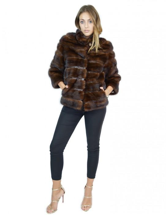 Giacca visone orizzontale 42 brown collo alto mink fur Nerz fourrure de vison