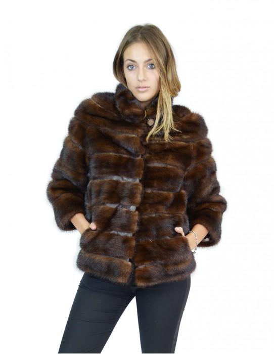 42 mink jacket horizontal brown turtleneck pelliccia visone Nerz fourrure de vison