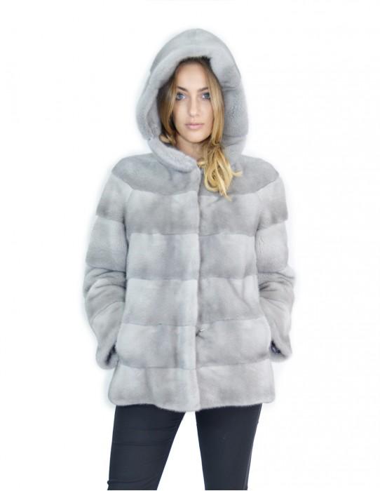 Cappotto visone orizzontale zaffiro cappuccio 48-50 fourrure de vison mink fur Nerz