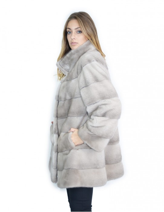 Silverblue horizontal mink coat korean neck 81 cm 52-54 fourrure de vison pelliccia visone Nerz