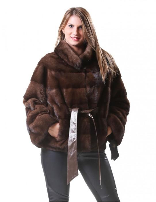 48 Women's fur jacket mink kimono model scanbrown