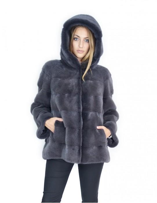 Cappotto visone orizzontale antracite cappuccio 48-50 fourrure de vison mink fur Nerz