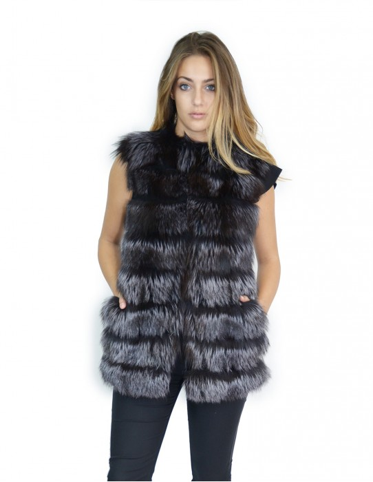 Anthracite fox fur vest with 44-46 suede inserts volpe Fuchs renard