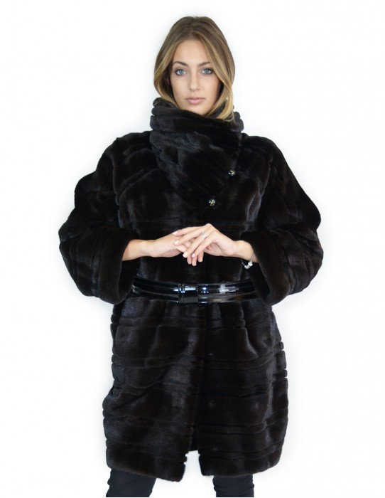 Braschi horizontal mink coat black large korean neck 46 fourrure de vison pelliccia visone Nerz