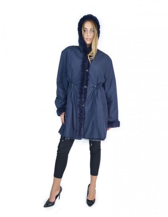 52 Fur Rex reversible blue coat with hood pelliccia rex pelz мех рекс fourrure