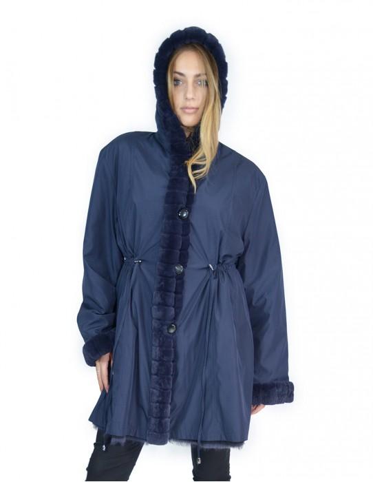 54 Fur Rex reversible blue coat with hood pelliccia rex pelz мех рекс fourrure