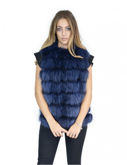 Blue fox fur vest with suede leather 46 volpe Fuchs renard