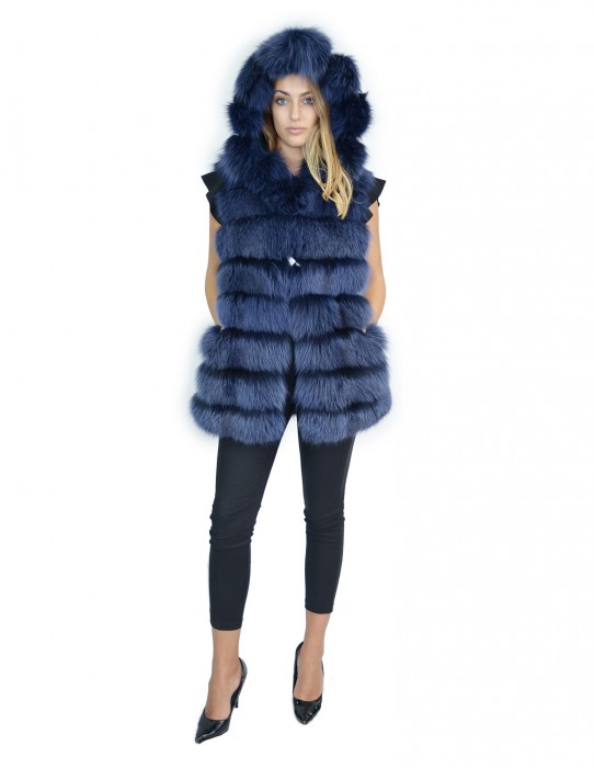 Blue fox fur vest with suede and hood 48 volpe Fuchs renard