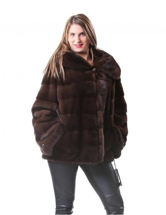 MINK FUR COAT SCANBROWN BRASCHI A SKIN HORIZONTAL fur 48