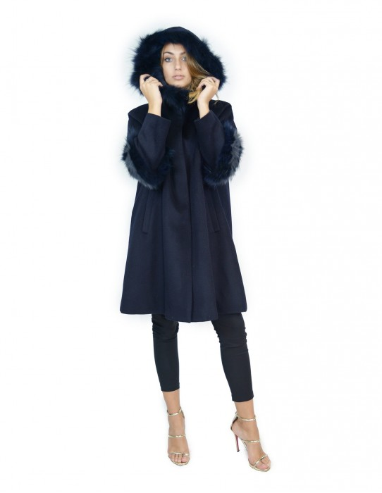 Blue cashmere coat and fox fur with hood 50 montone баранина Hammel mouton