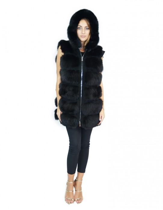 50 Gilet pelliccia volpe nero con inserti di pelle scamosciata e cappuccio fox Fuchs renard