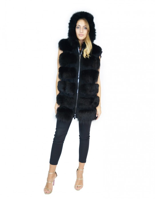 Black fox fur vest 50 with suede inserts and hood volpe Fuchs renard