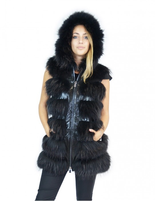 Black fox fur 44 vest with leather inserts and hood volpe Fuchs renard