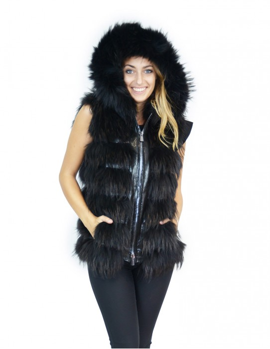 Black fox fur vest with hood and leather inserts 44 Fuchs volpe renard