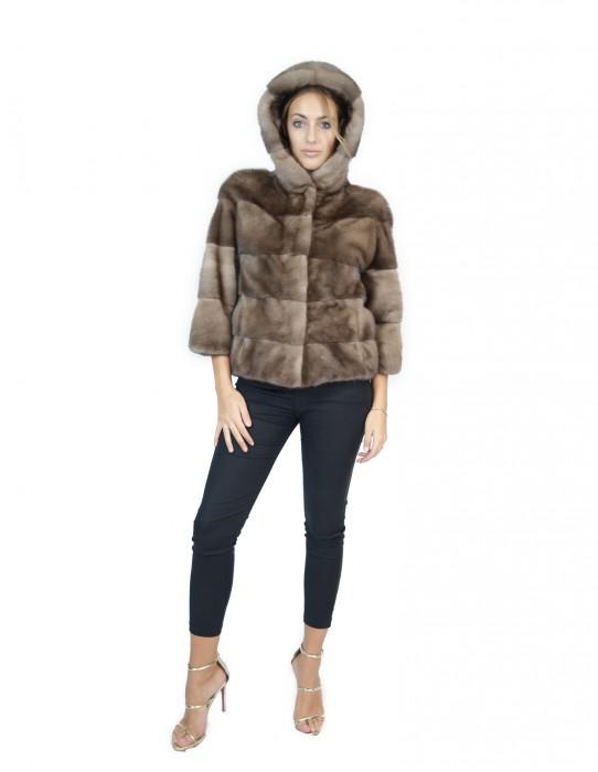 46 horizontal mink jacket hood aleutian blue iris fourrure de vison pelliccia visone Nerz