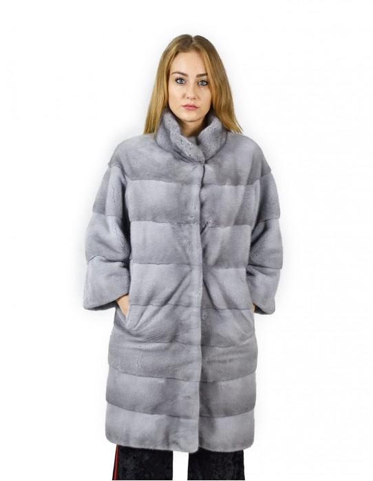 46 Cappotto di visone orizzontale zaffiro collo coreana 98 cm fourrure de vison mink fur Nerz