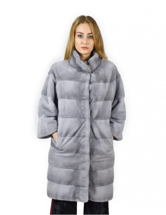 46 horizontal Saphir Nerzmantels Korean Hals 98 cm Fourrure de Vison pelliccia visone mink fur