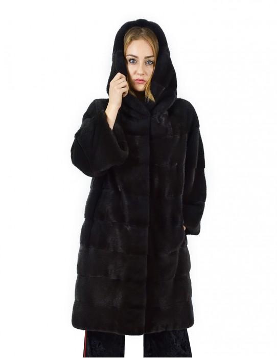 50 Cappotto di visone orizzontale aurora cappuccio 102 cm fourrure de vison mink fur Nerz