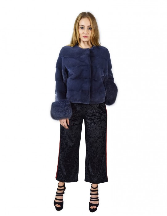 40 horizontal mink jacket blue jeans with fox wrists fourrure de vison pelliccia visone Nerz