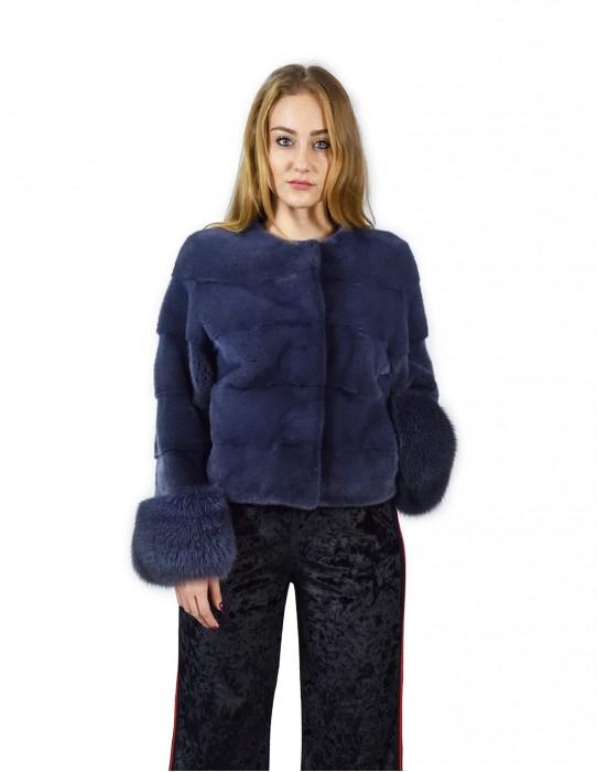 44 horizontal Nerzjacke Blue Jeans mit fox Handgelenken Fourrure de Vison pelliccia visone mink fur