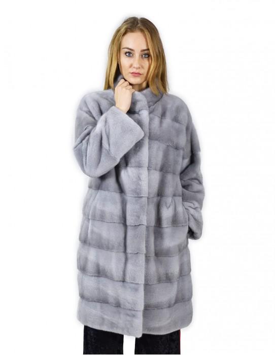 46 Cappotto 102 cm di visone orizzontale zaffiro collo coreana fourrure de vison mink fur Nerz