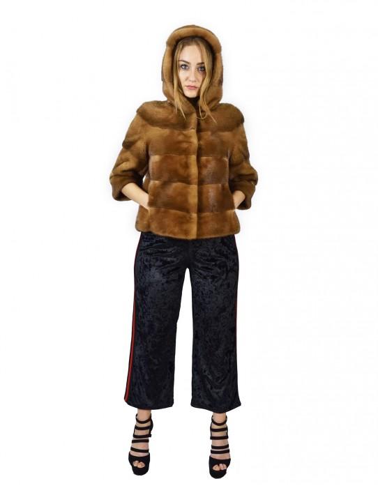 Giacca di visone orizzontale con cappuccio golden 48 fourrure de vison fur Nerz mink