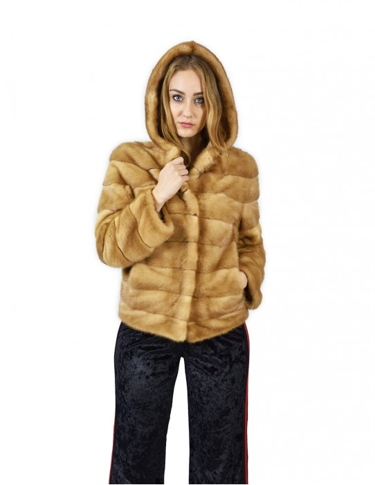 42 Horizontal mink jacket with hood honey 66 cm fourrure de vison pelliccia Nerz mink