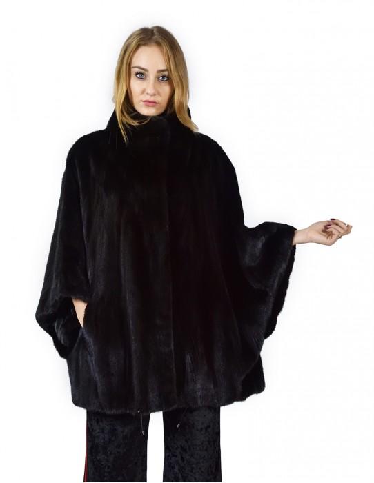 Mantella di visone trasporto black collo coreana 44-50 fourrure de vison mink fur Nerz