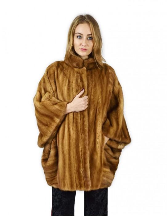 Mink cape transportation gold buff Korean collar 46-50 fourrure de vison pelliccia visone Nerz