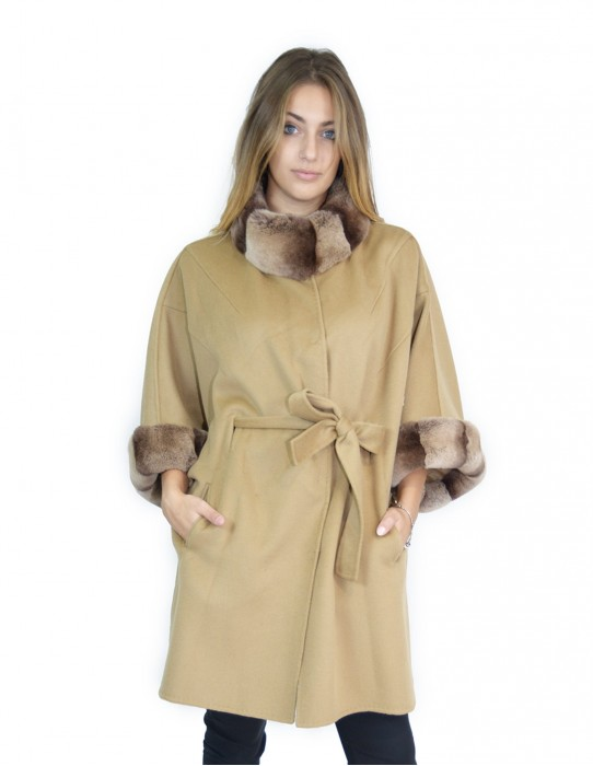 52 poncho with cashmere sleeves and rex fur with belt montone баранина Hammel mouton