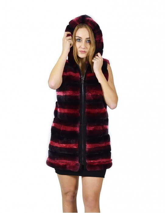 42 Fur Rex fuchsia and black gradient sleeveless hood zipper pelliccia rex pelz мех рекс fourrure