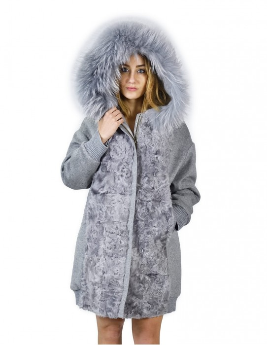 48 Cashmere coat and gray fox fur with hood montone баранина Hammel mouton