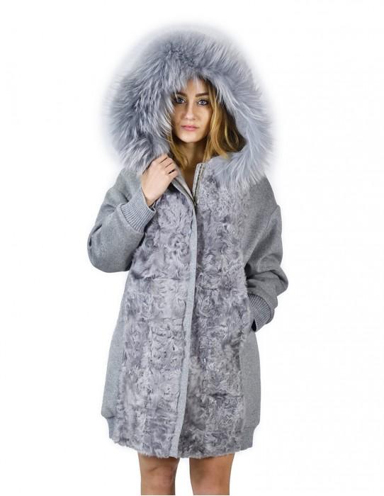48 Cappotto cashmere e pelliccia di volpe grigio con cappuccio баранина sheepskin Hammel mouton