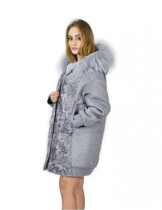 52 Cappotto cashmere e pelliccia di volpe grigio con cappuccio баранина sheepskin Hammel mouton
