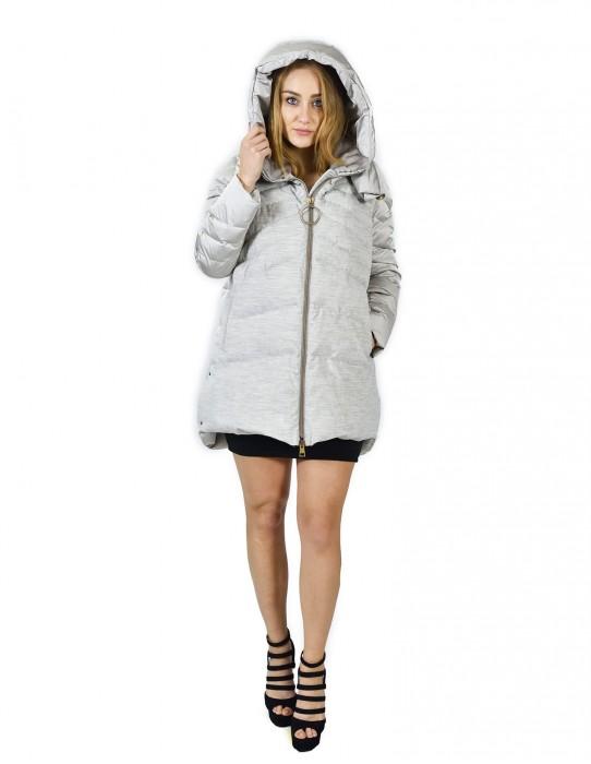 48 Gray down jacket with wool part and hood with rex piumino Daunenjacke doudoune